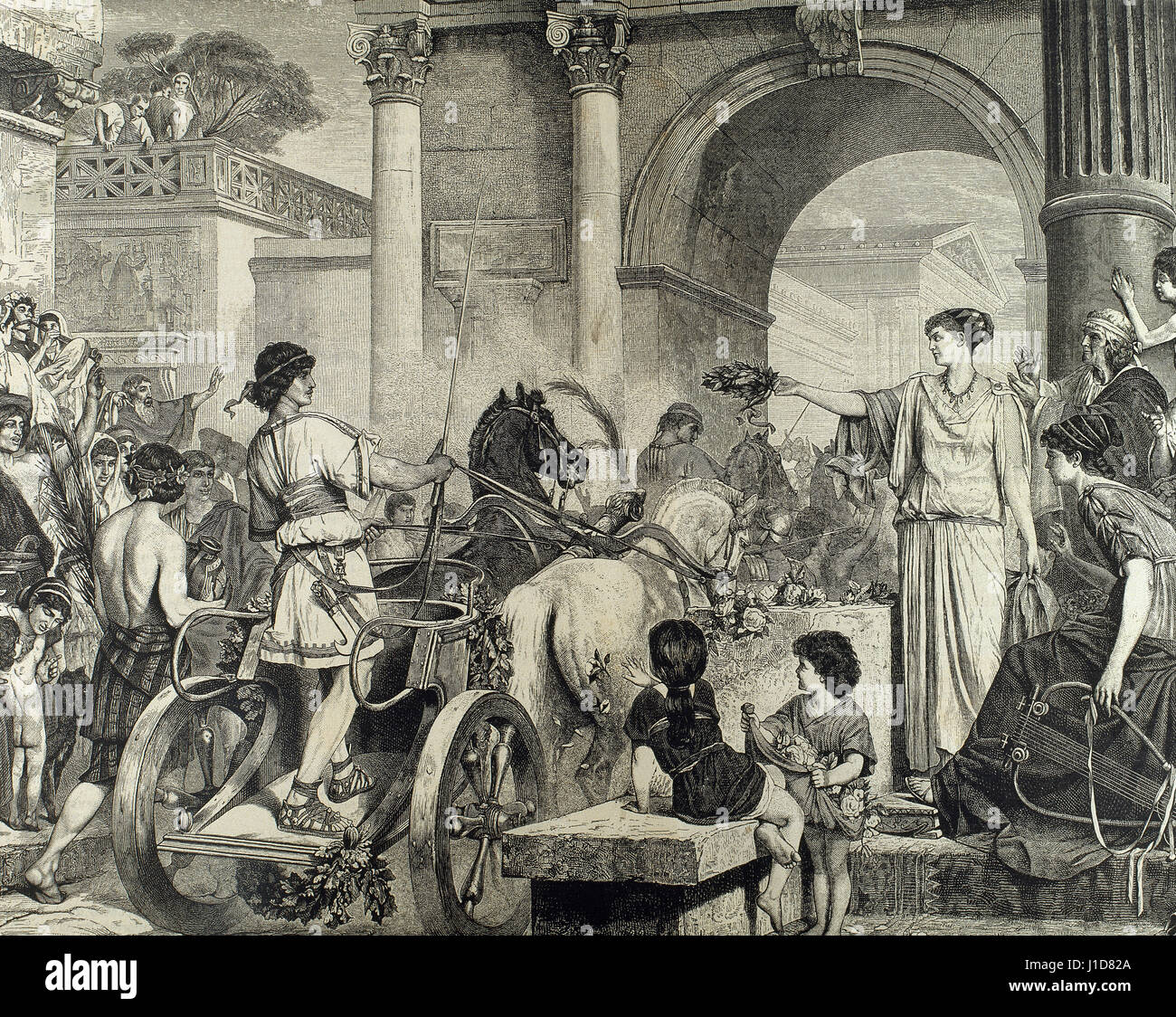 Ancient Greece. Olympic Games. Entrance of the winner in chariot racing. Engraving. - Stock Image