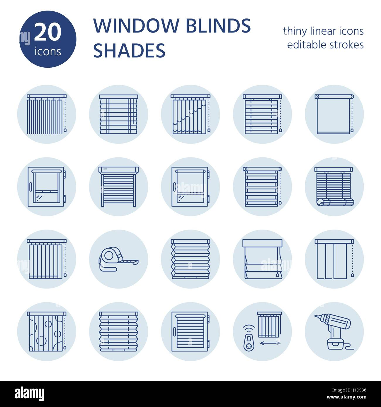 Window blinds, shades line icons. Various room darkening decoration, roller shutters, roman curtains, horizontal Stock Vector