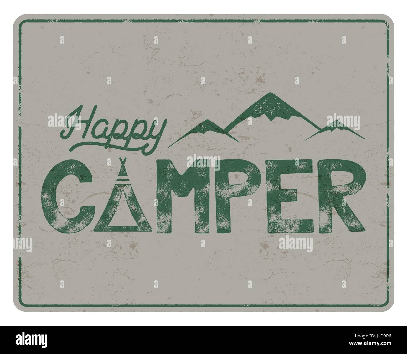 Happy Camper Poster Template Tent Mountains And Text Sign Retro Colors Design Hiking Emblem Stock Vector Isolated On White Background
