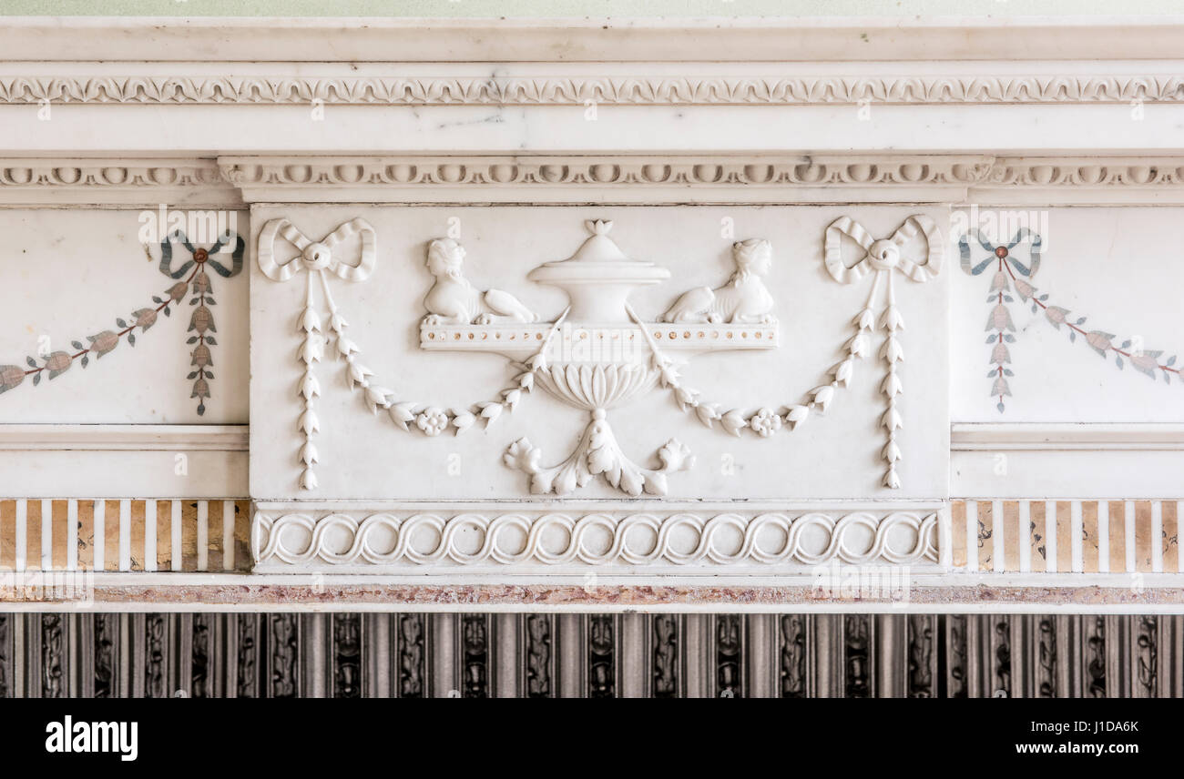 Ornate Carving On White Marble Stone Fireplace Surround And Mantle Stock Photo Alamy