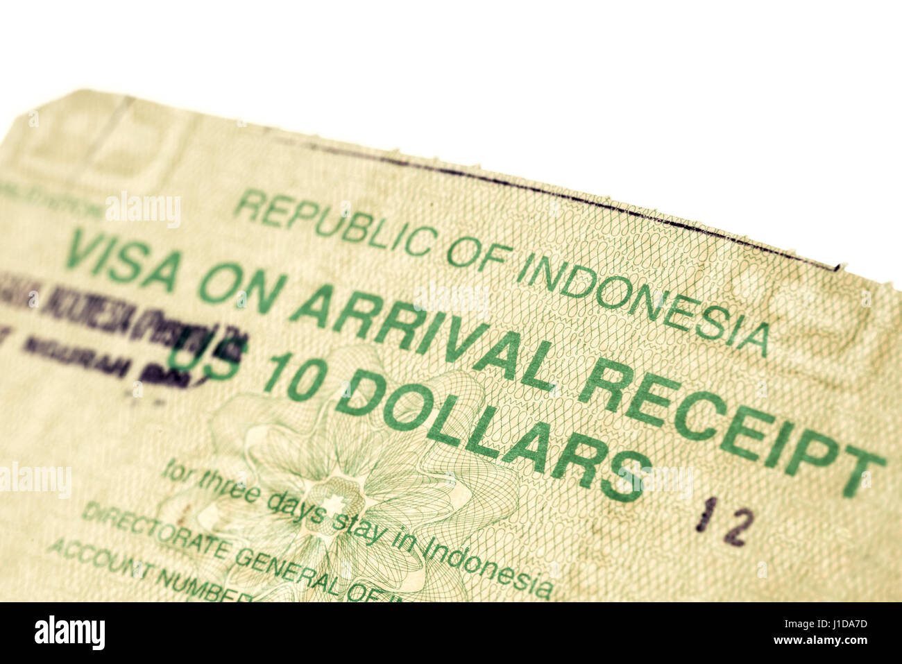 Temporary visa document for Indonesia - Stock Image