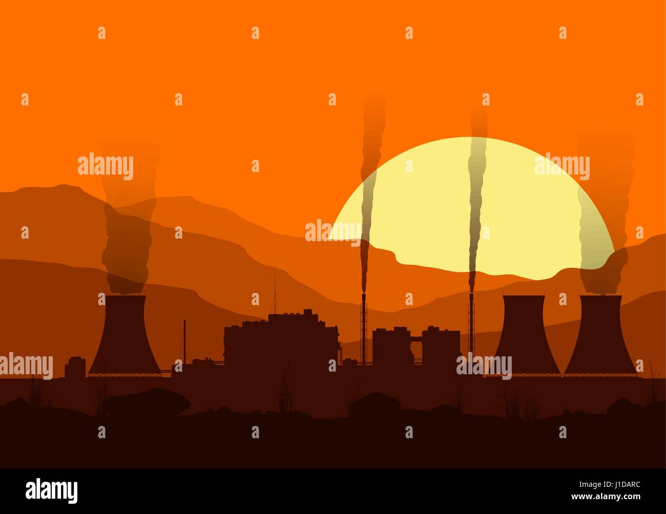 Silhouette of a nuclear power plant at sunset.  - Stock Vector