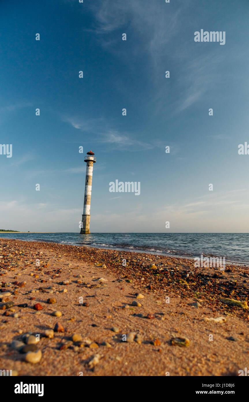Skew lighthouse in the Baltic sea. Vilsandi National park, Saaremaa, Estonia - Stock Image