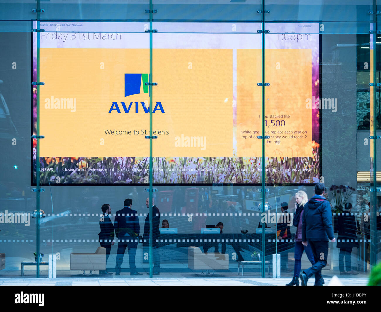 Aviva display in the foyer of the St Helen's building, formerly the Aviva Tower, in St Mary Axe in the City - Stock Image