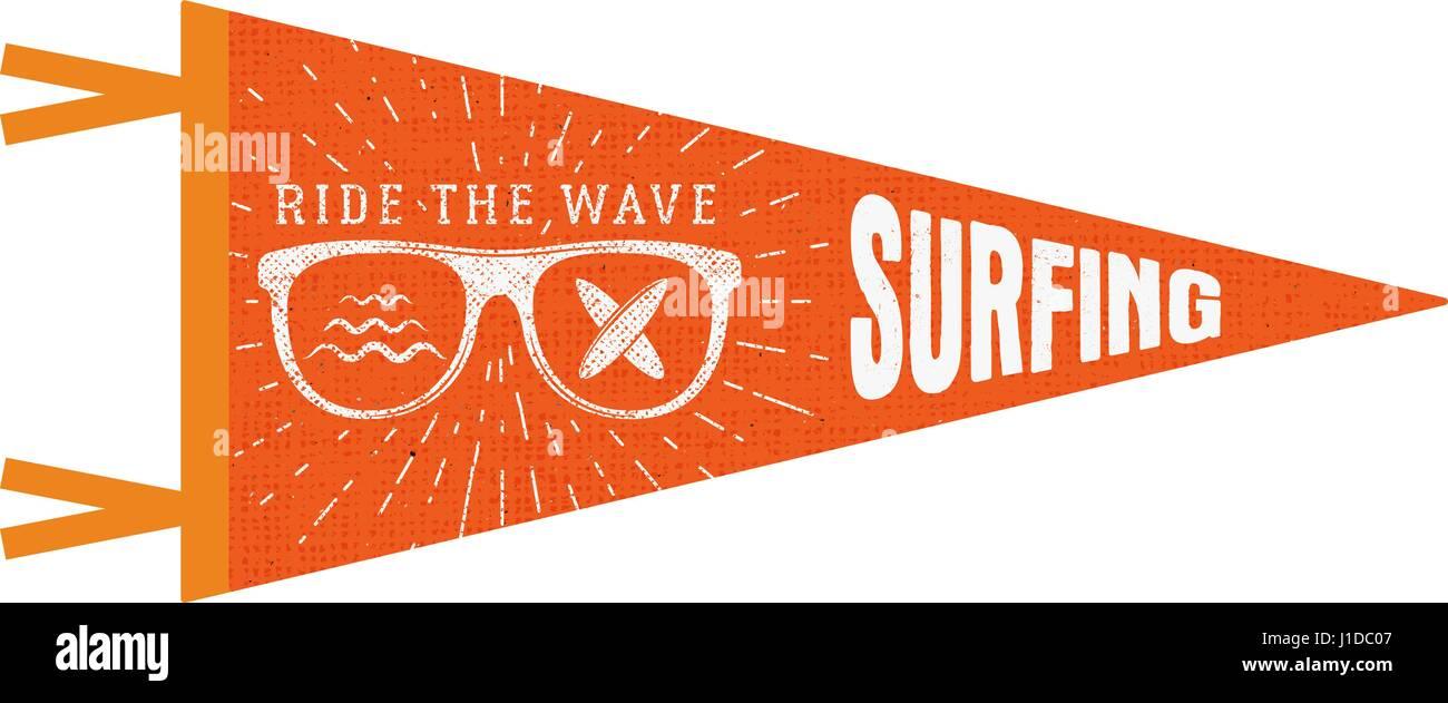 Surfing Pennant Summer Flag Design Vintage Surf Emblem With Stock Vector Art Illustration Image 138592391