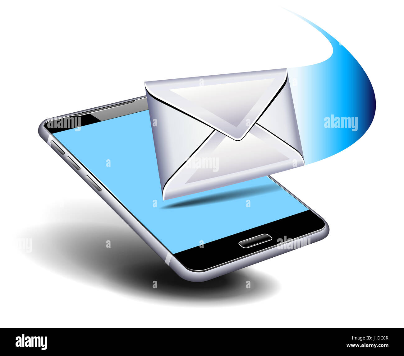 3D Cell Smart Phone with Envelope Stock Photo: 138592407 - Alamy