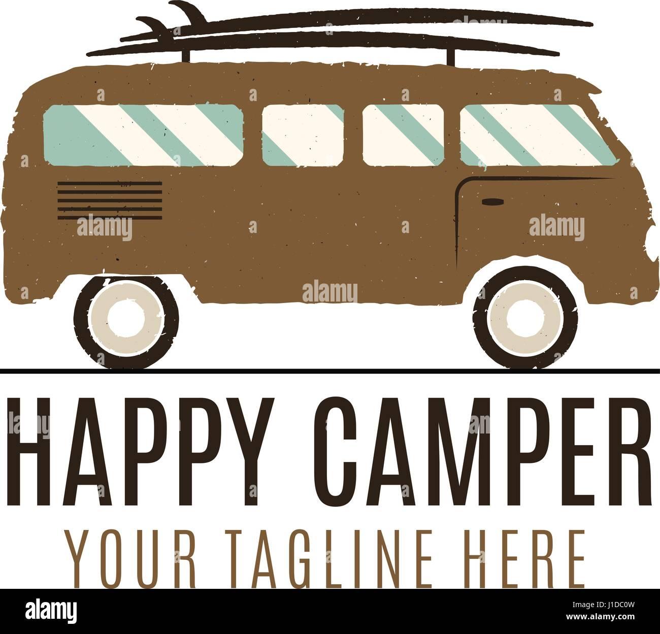 Happy camper logo design. Vintage bus illustration. RV truck emblem. Van icon template. Surfing equipment. Caravan Stock Vector