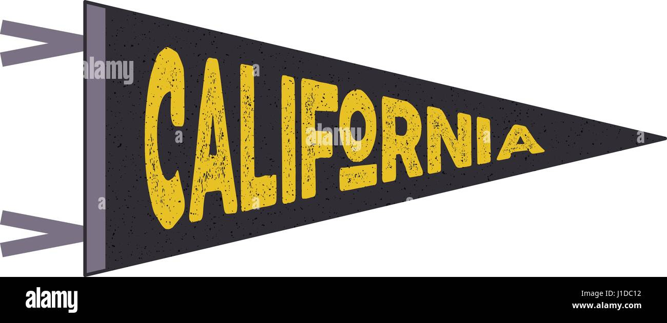 California pennant. California flag design. Retro tee design. Vintage cali t-shirt design. Travel print with cali - Stock Vector