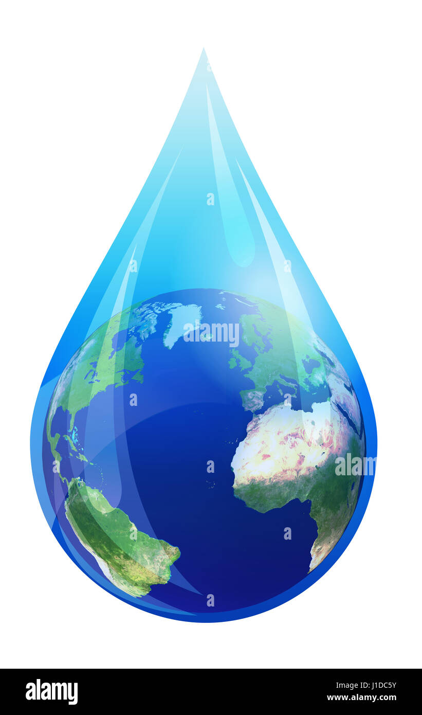 Water Drop World, Earth Globe in a Water Droplet - Elements of this image furnished by NASA - Stock Image