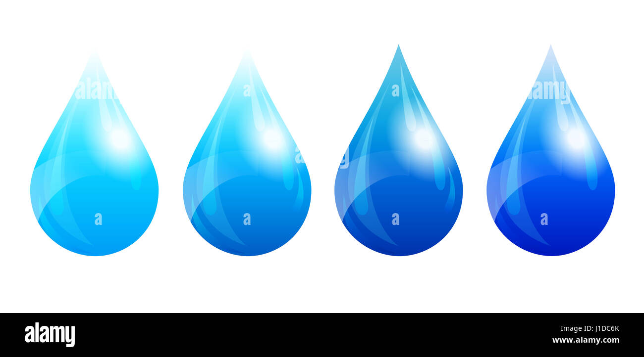 Water Drop, Water Droplet, Four Color Versions - Stock Image