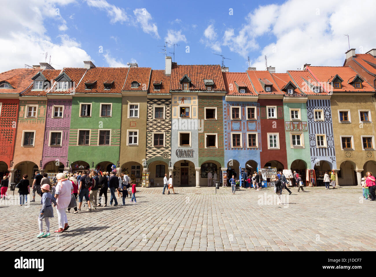 POZNAN, POLAND - AUG 20, 2014: Colorfull houses on the central square in Poznan, Poland. The city is the 4th largest Stock Photo