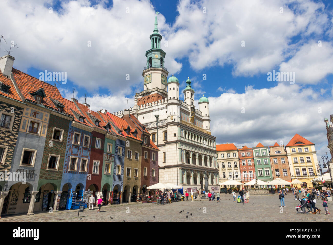 POZNAN, POLAND - AUG 20, 2014: Colorful main square and town hall of Poznan in Poland. Stock Photo