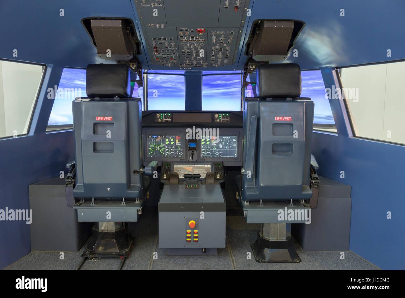 PARIS - JUN 18, 2015: Flight simulator on display at the 51st International Paris Air show. Stock Photo