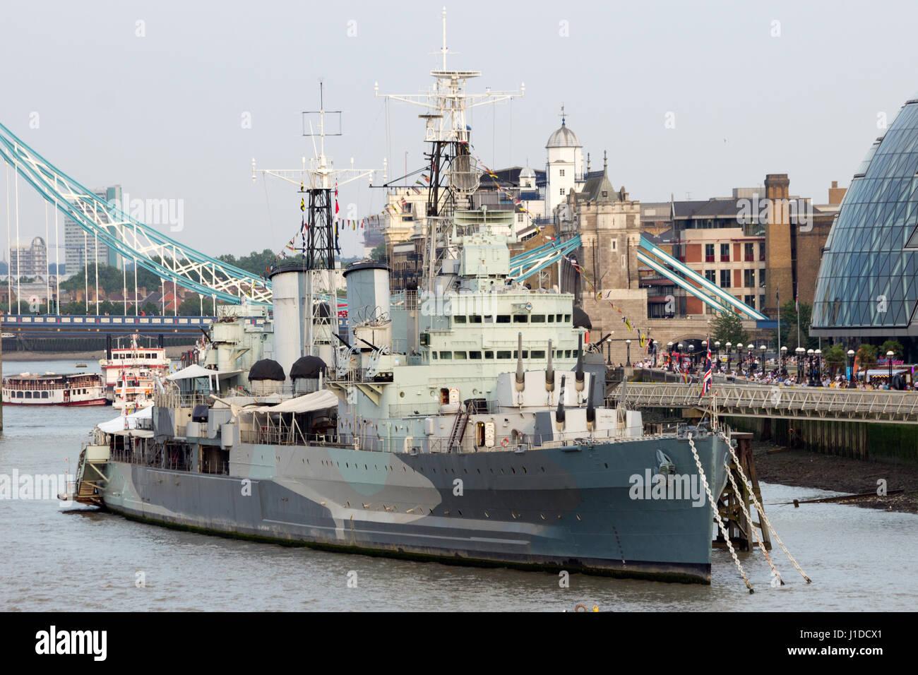HMS Belfast, former Royal Navy cruiser, in London. - Stock Image