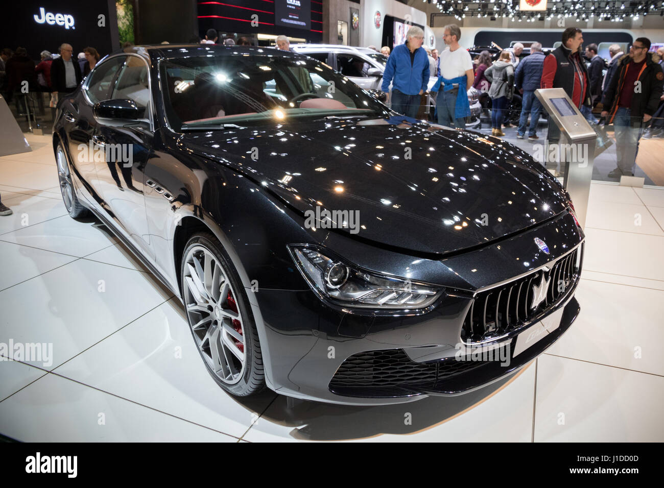 BRUSSELS - JAN 19, 2017: Maserati Ghibli car at the Brussels Motor Show. - Stock Image