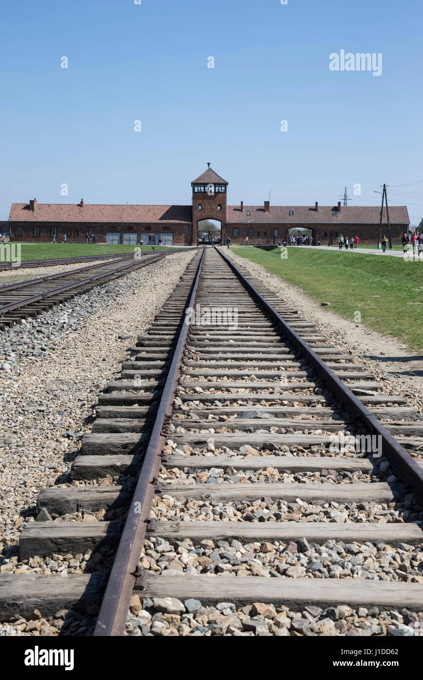 Rail level view of Birkenau concentration camp in Poland Stock Photo