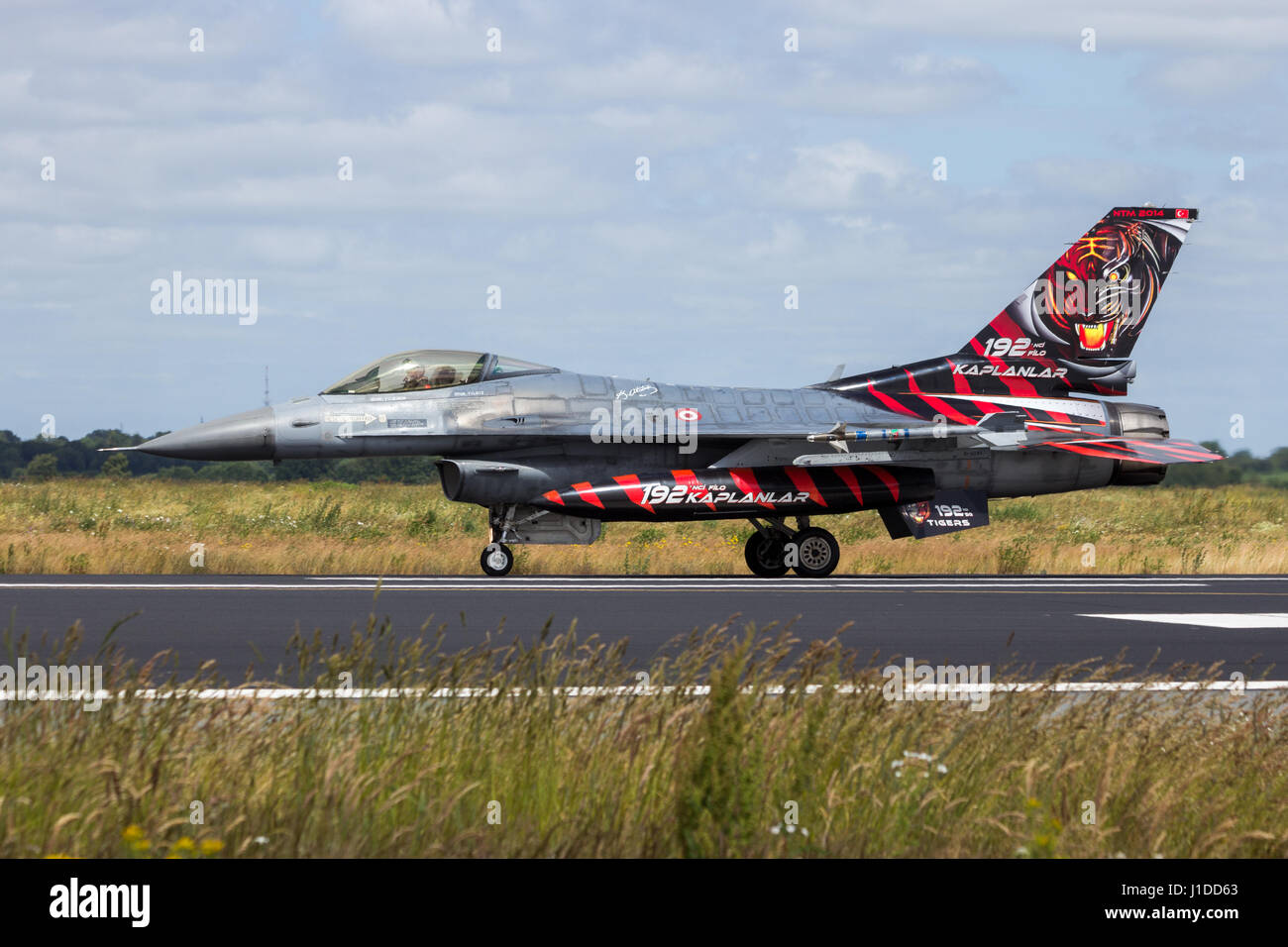 SCHLESWIG-JAGEL, GERMANY - JUN 23, 2014: Special tiger painted Turkish Air Force F-16 fighter jet plane from 192Filo - Stock Image