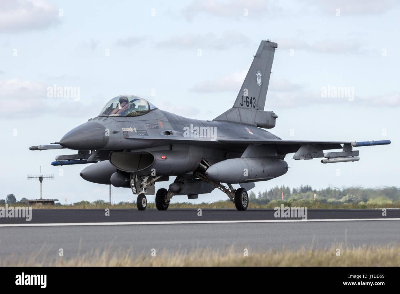 SCHLESWIG-JAGEL, GERMANY - JUN 23, 2014: Royal Netherlands Air Force F-16 fighter jet plane during the NATO Tiger - Stock Image