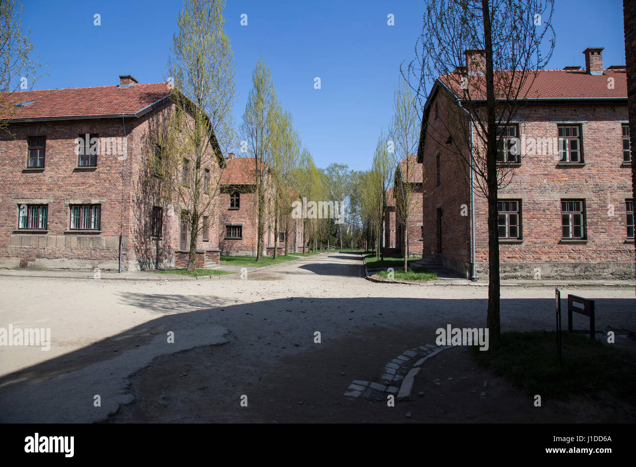 View of cell blocks within Auschwitz concentration camp - Stock Image