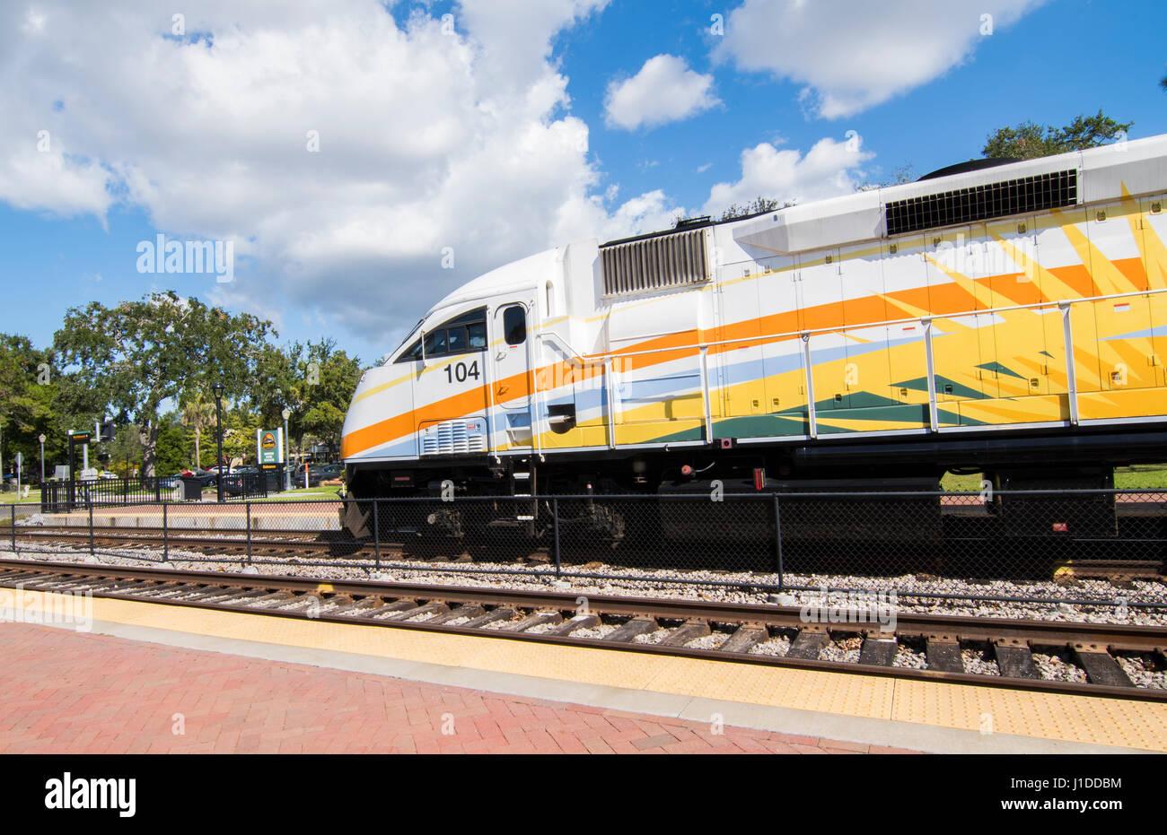 Winter Park Florida Sun Rail Train at station transportation rail mass transit - Stock Image