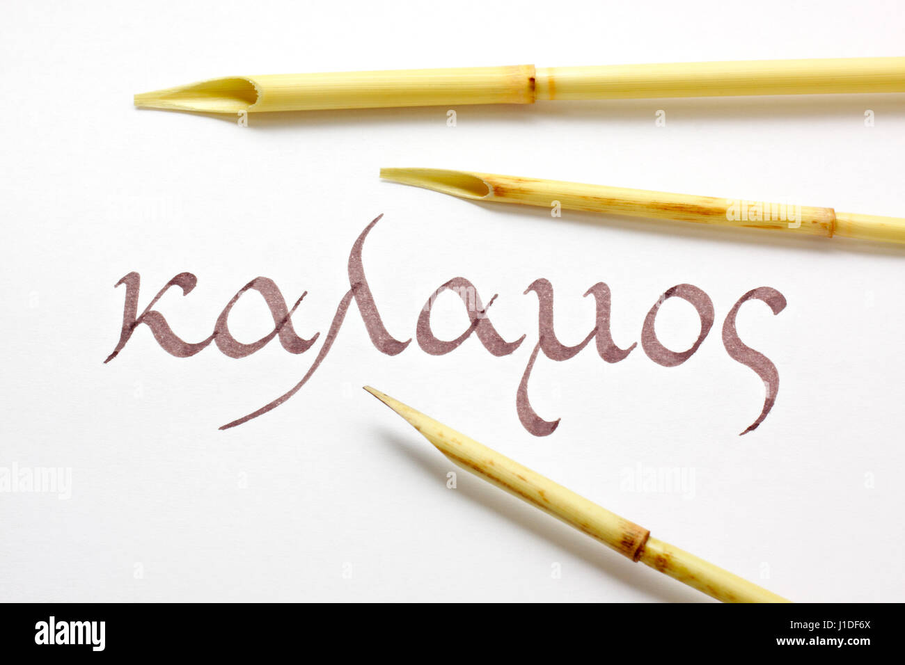 Three reed pens (calamus, qalam) and word kalamos written in greek script and language over white paper - Stock Image