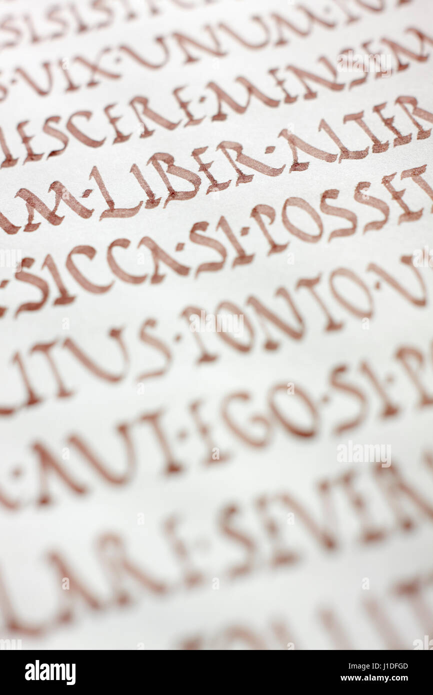 Close up view of ancient writing  Roman rustic capitals