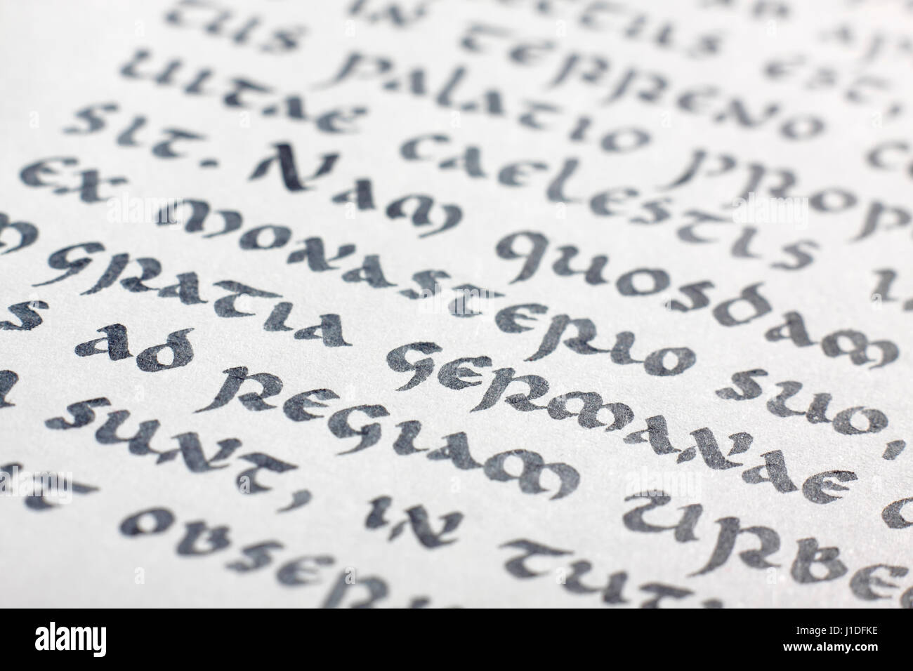 Close Up View Of Ancient Writing Medieval Uncial Script Latin Language