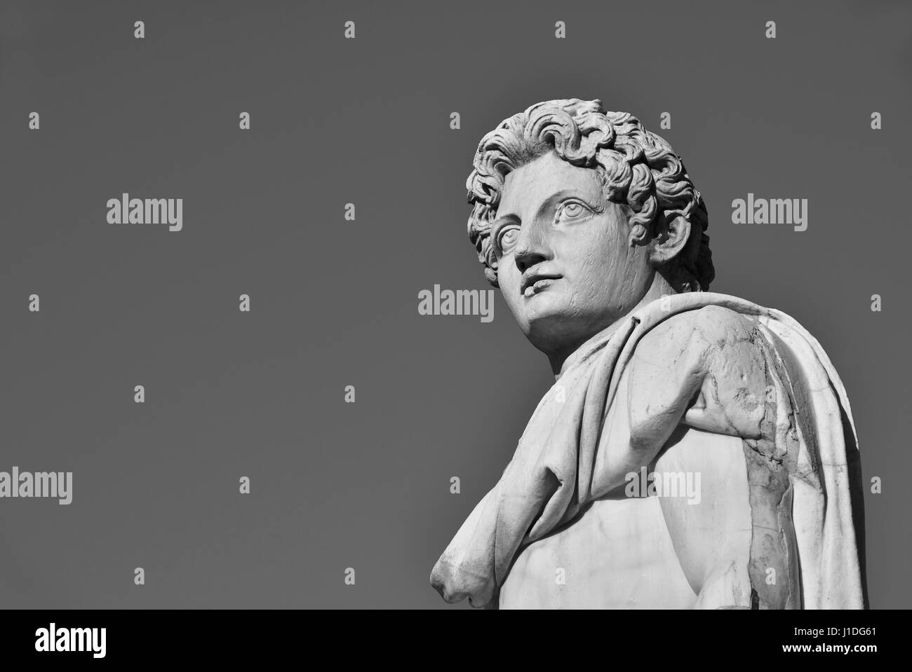 Ancient roman statue of Dioskouri at the top of Capitoline Hill in Rome, made in the 1st century BC (Black and White - Stock Image