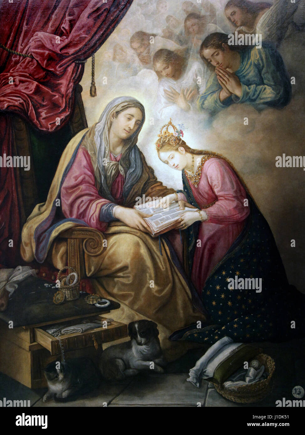 Saint Anne Teaching the Virgin to Read 1610 by Juan de Roelas 1558-1631 Santa Ana ensenando a leer a la Virgen Sevilla - Stock Image