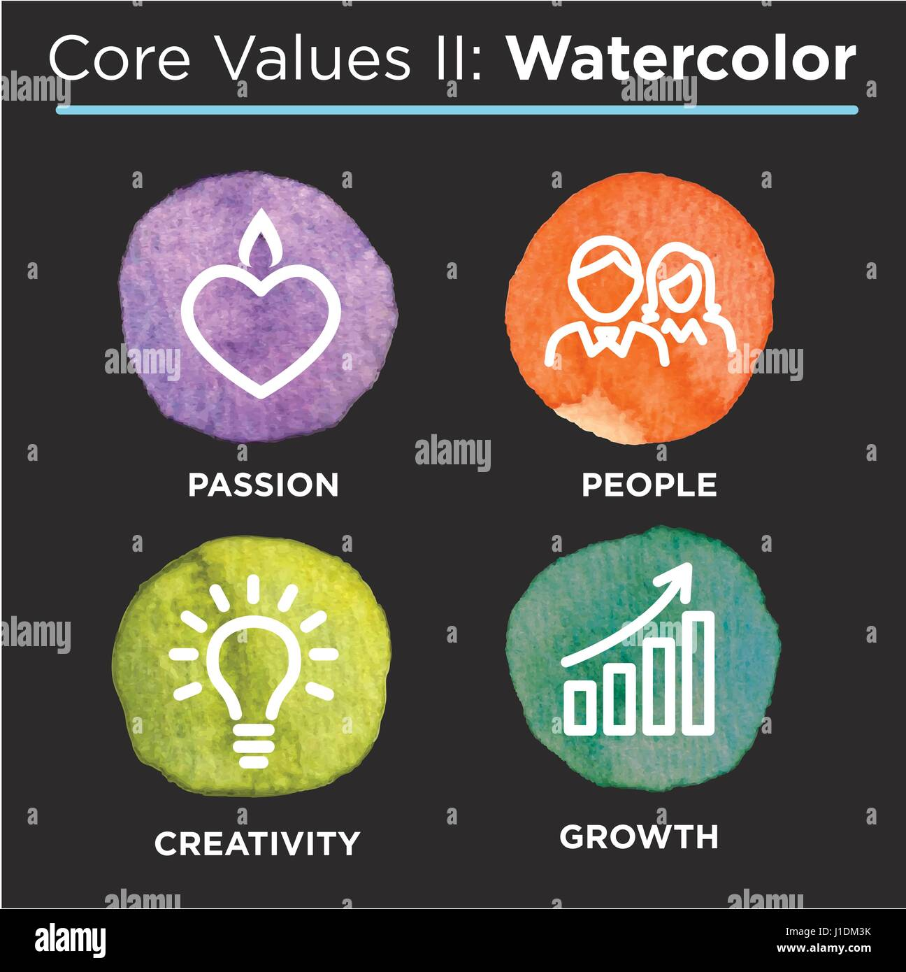 Company Core Values Outline Icons for Websites or Infographics - Stock Vector