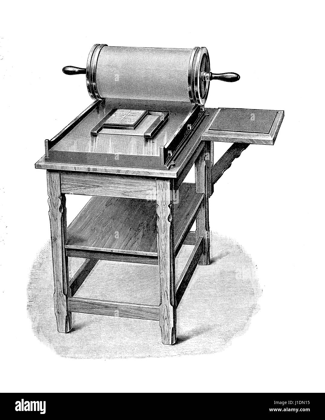 early manual stencil duplicator or mimeograph, vintage engraving - Stock Image