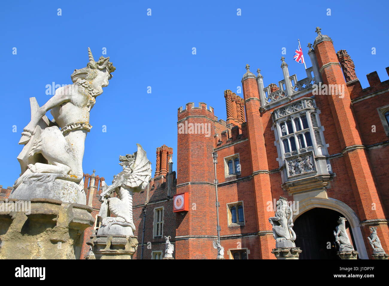 LONDON, UK - APRIL 9, 2017: The West front and main entrance of Hampton Court Palace in Southwest London with details - Stock Image