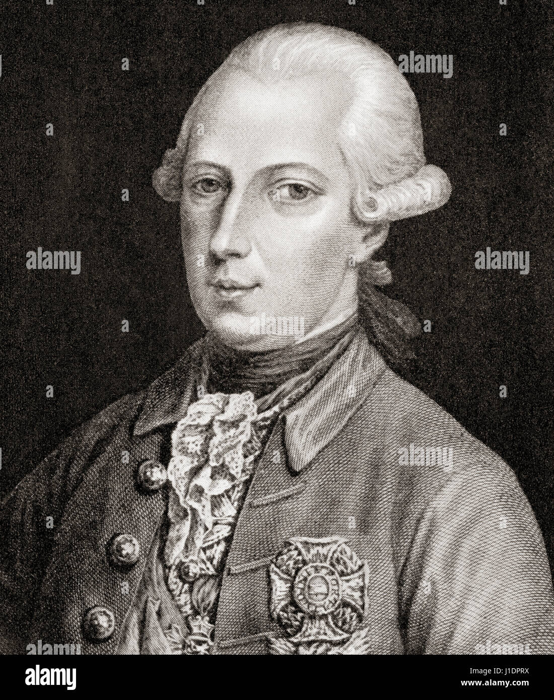 Joseph II, 1741 – 1790.  Holy Roman Emperor and ruler of the Habsburg lands.  From Hutchinson's History of the - Stock Image