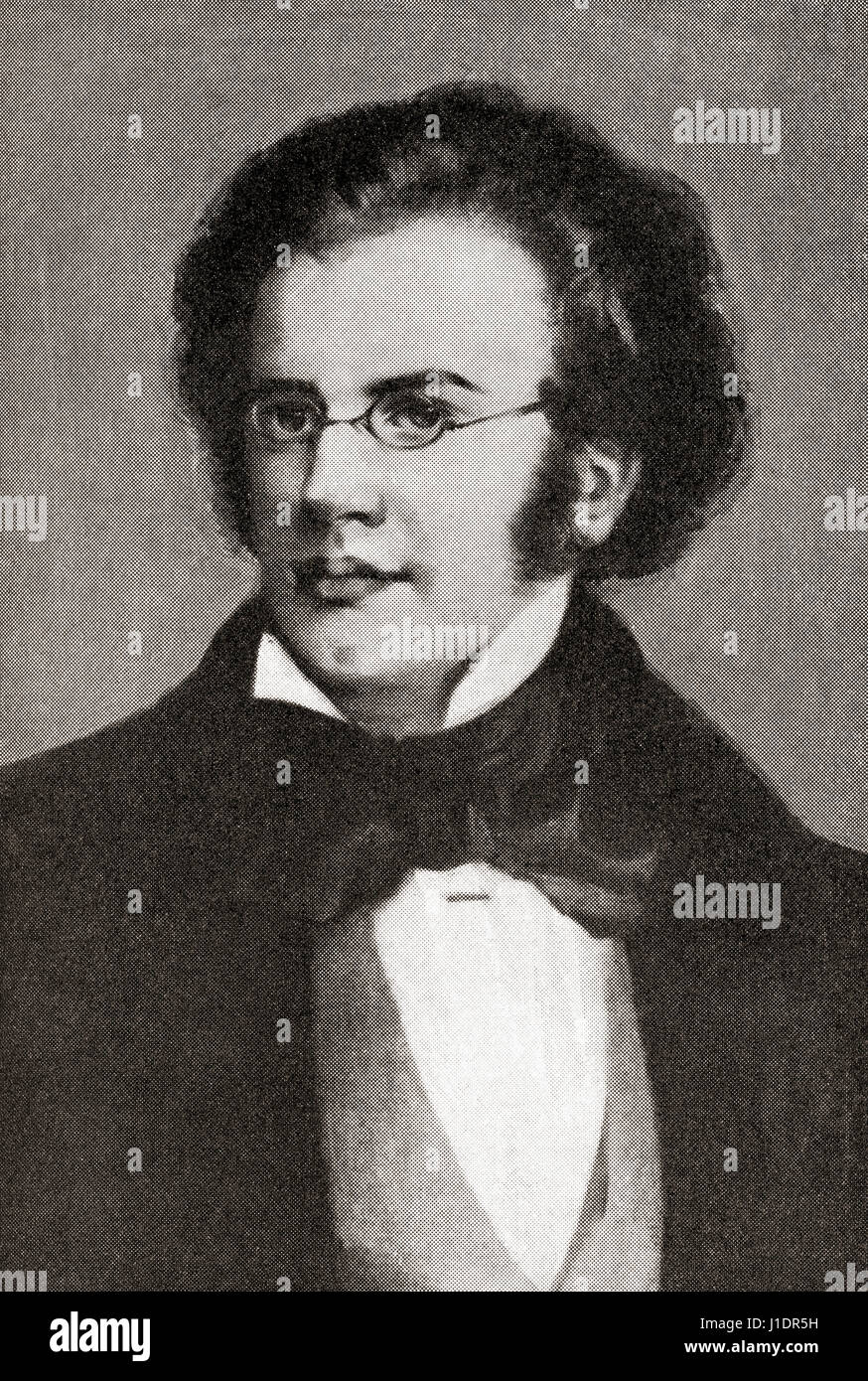 Franz Peter Schubert, 1797 –  1828.  Austrian composer.   From Hutchinson's History of the Nations, published - Stock Image