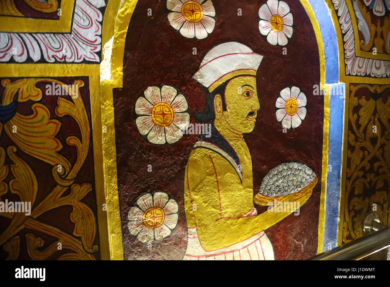Kandy Sri Lanka Temple of the Tooth Wall Painting - Stock Image