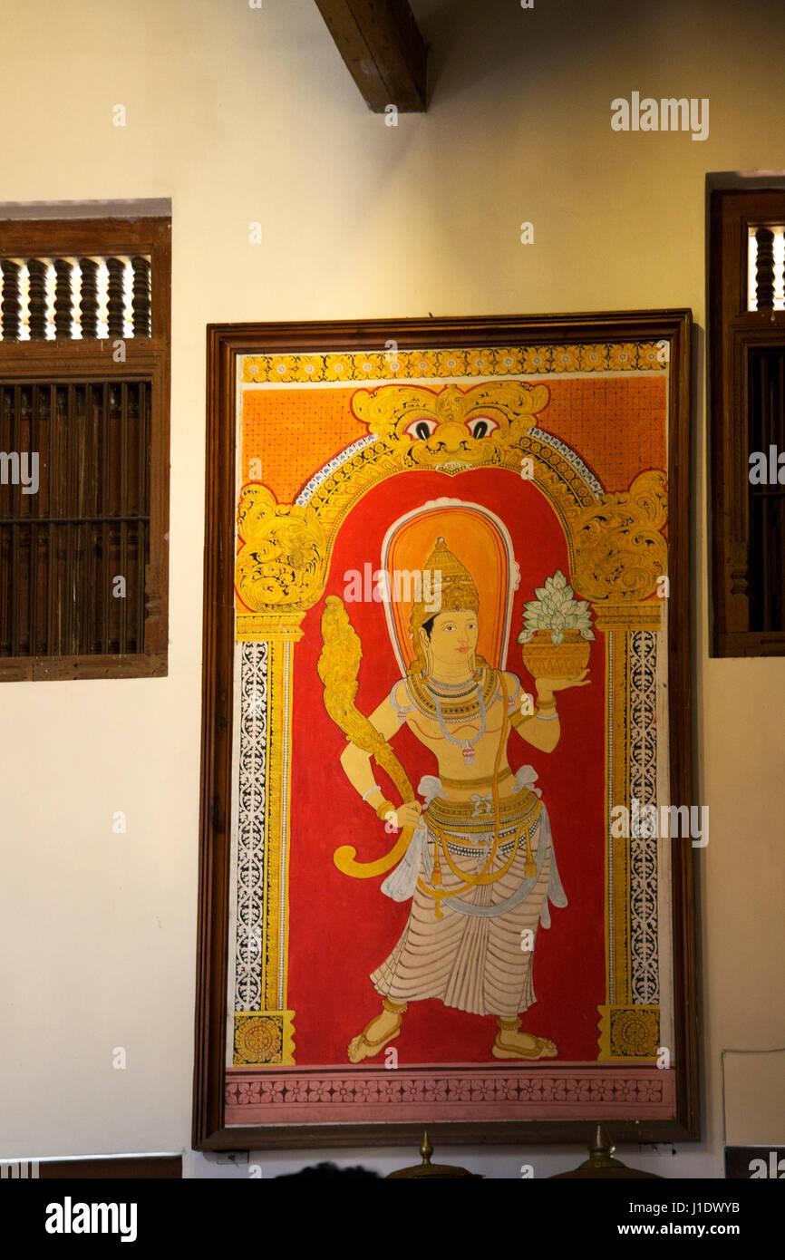Kandy Sri Lanka Temple of the Sacred Tooth Painting Of Naga Raja Guardian - Stock Image