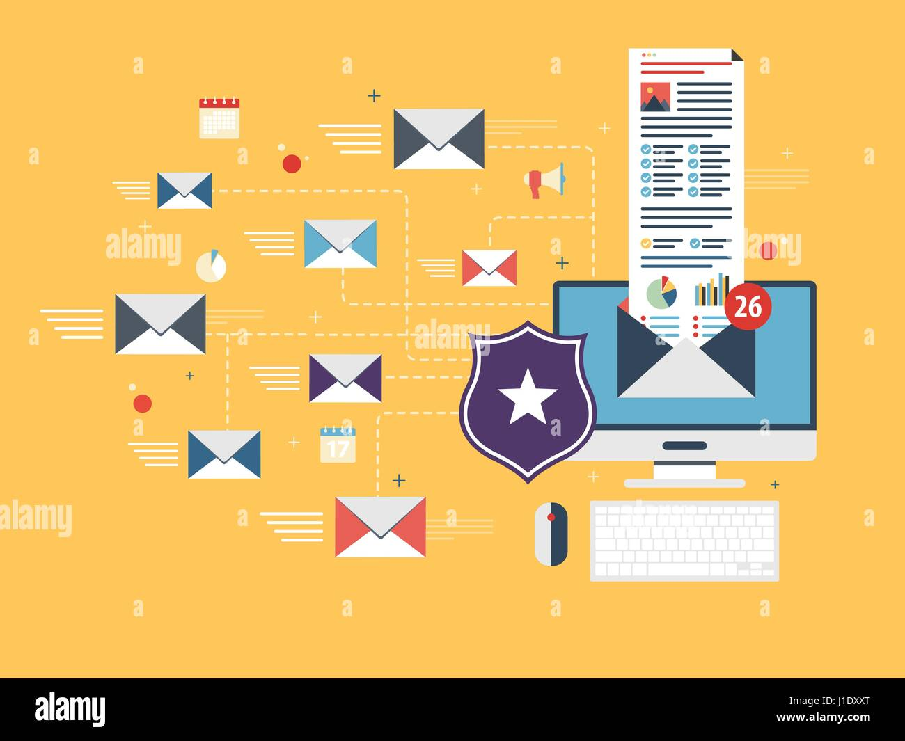 Computer with antivirus for protection, security and blocking of receiving spam by email. Spam blocker. Email protection - Stock Image