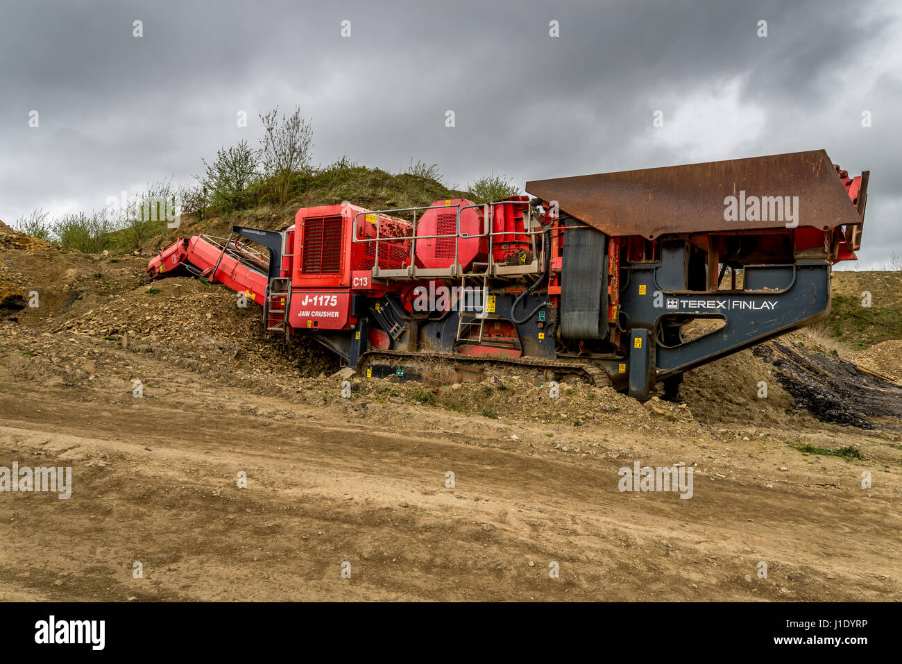 Terex Finlay J-1175 jaw crusher at a disused quarry in West  Yorkshire,England, UK