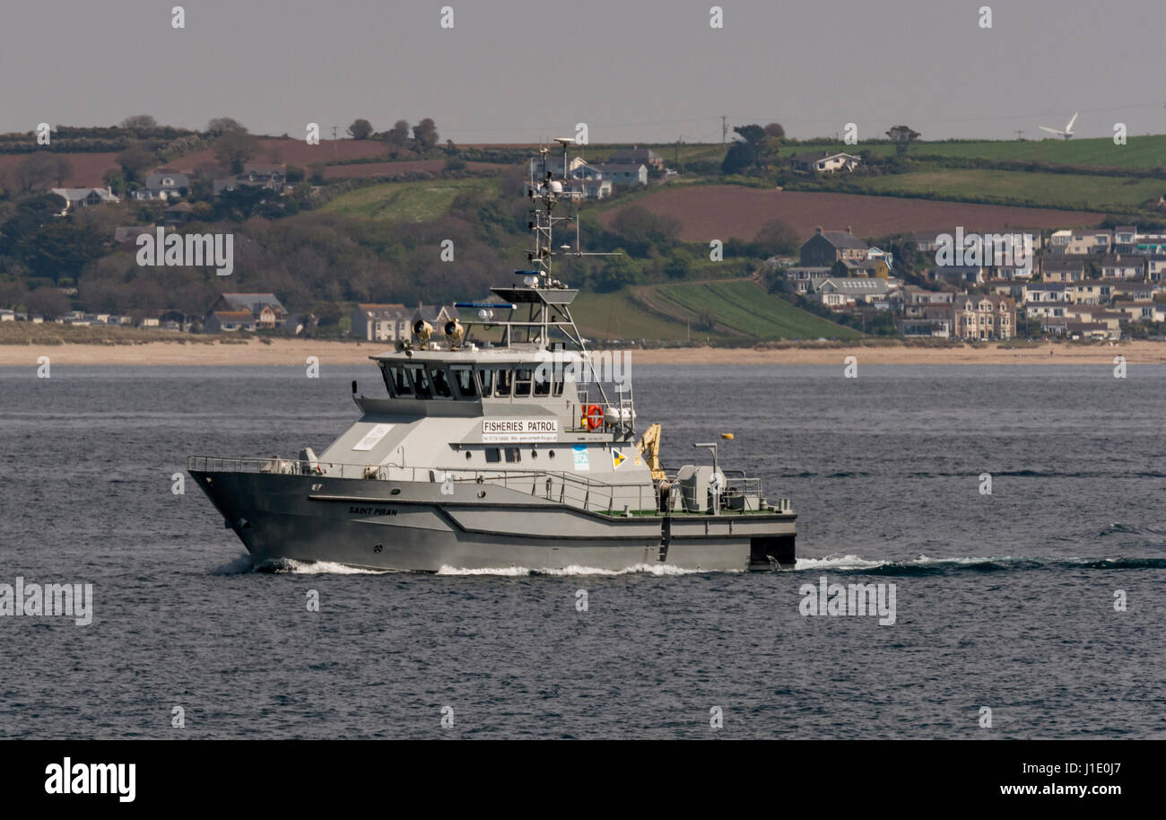 Fisheries Protection Boat 'Saint Piran' - Stock Image