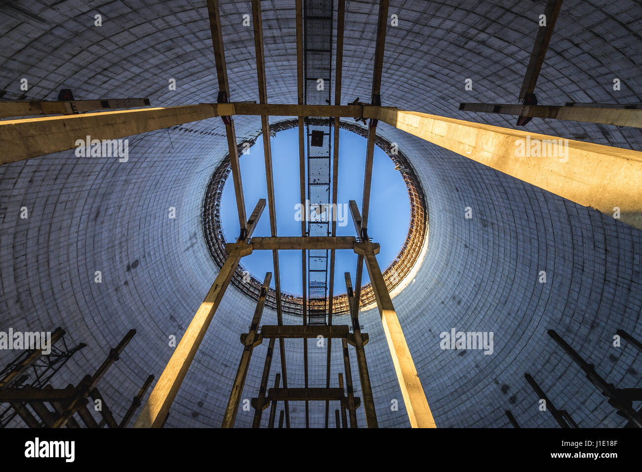 Inside The Cooling Tower Of Chernobyl Nuclear Power Plant In Zone Of