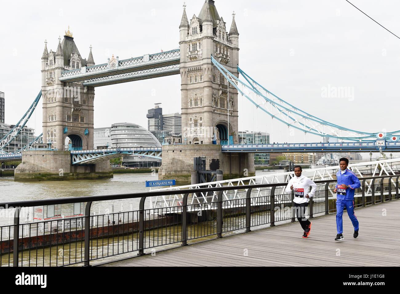 London, UK. 20th Apr, 2017. Kenenisa Bekele, Feyisa Lilesa attend the elite mens photo call for London Marathon - Stock Image