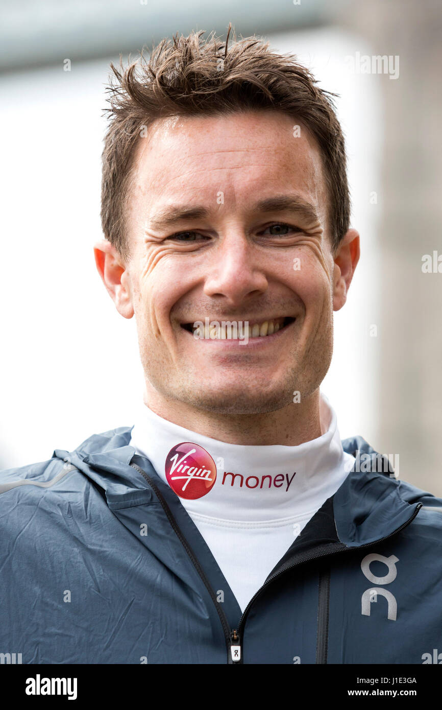 London, UK. 20th Apr, 2017. Chris Thompson (GBR). Photocall with the Elite British Runners ahead of the Virgin Money - Stock Image