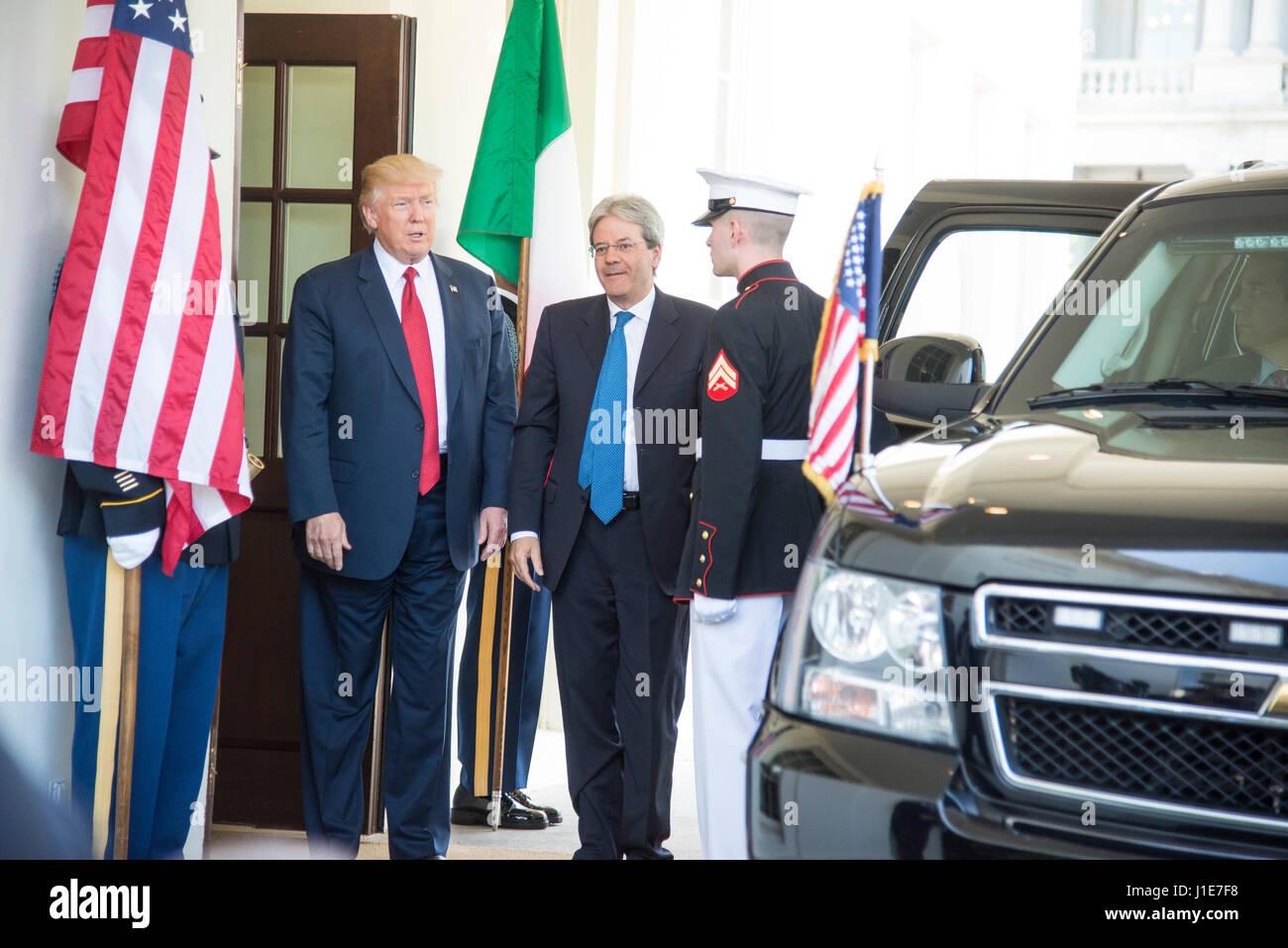 Washington, USA. 20th Apr, 2017. Washington DC, April 20, 2017, USA: President Donald J Trump welcomes the Italian - Stock Image