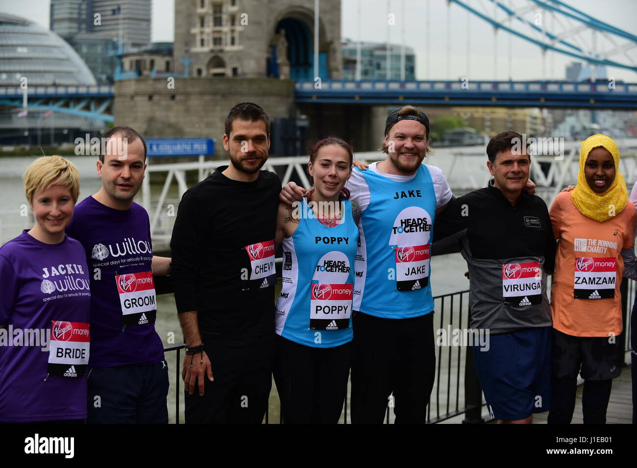 Tower Hotel, London UK. 21st April 2017. Special runners photocall outside Tower Hotel. Credit: Malcolm Park/Alamy Stock Photo