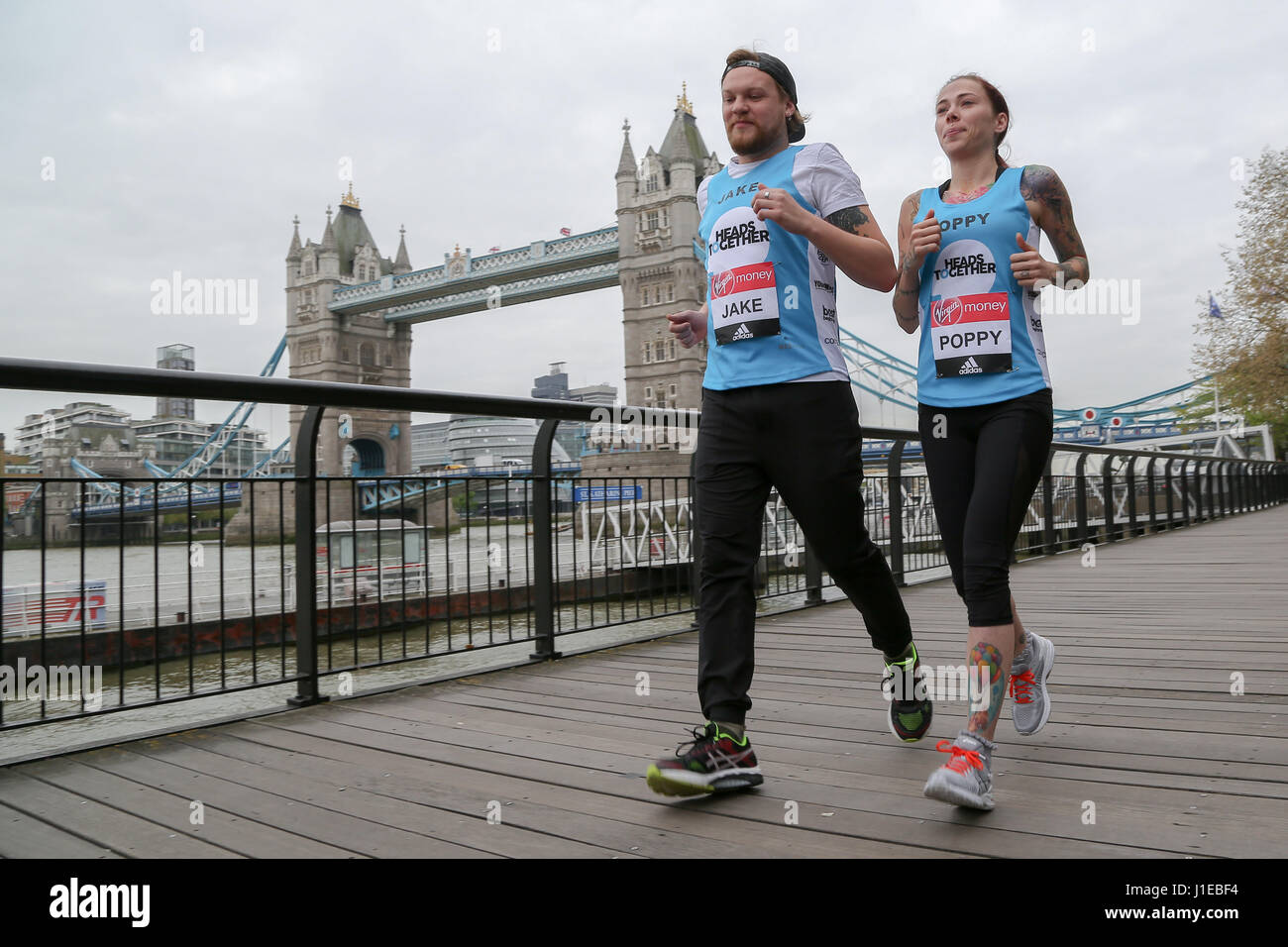 London, UK. 21st April, 2017. Jake and Poppy.  The 2017 Virgin Money London Marathon has been celebrating every Stock Photo