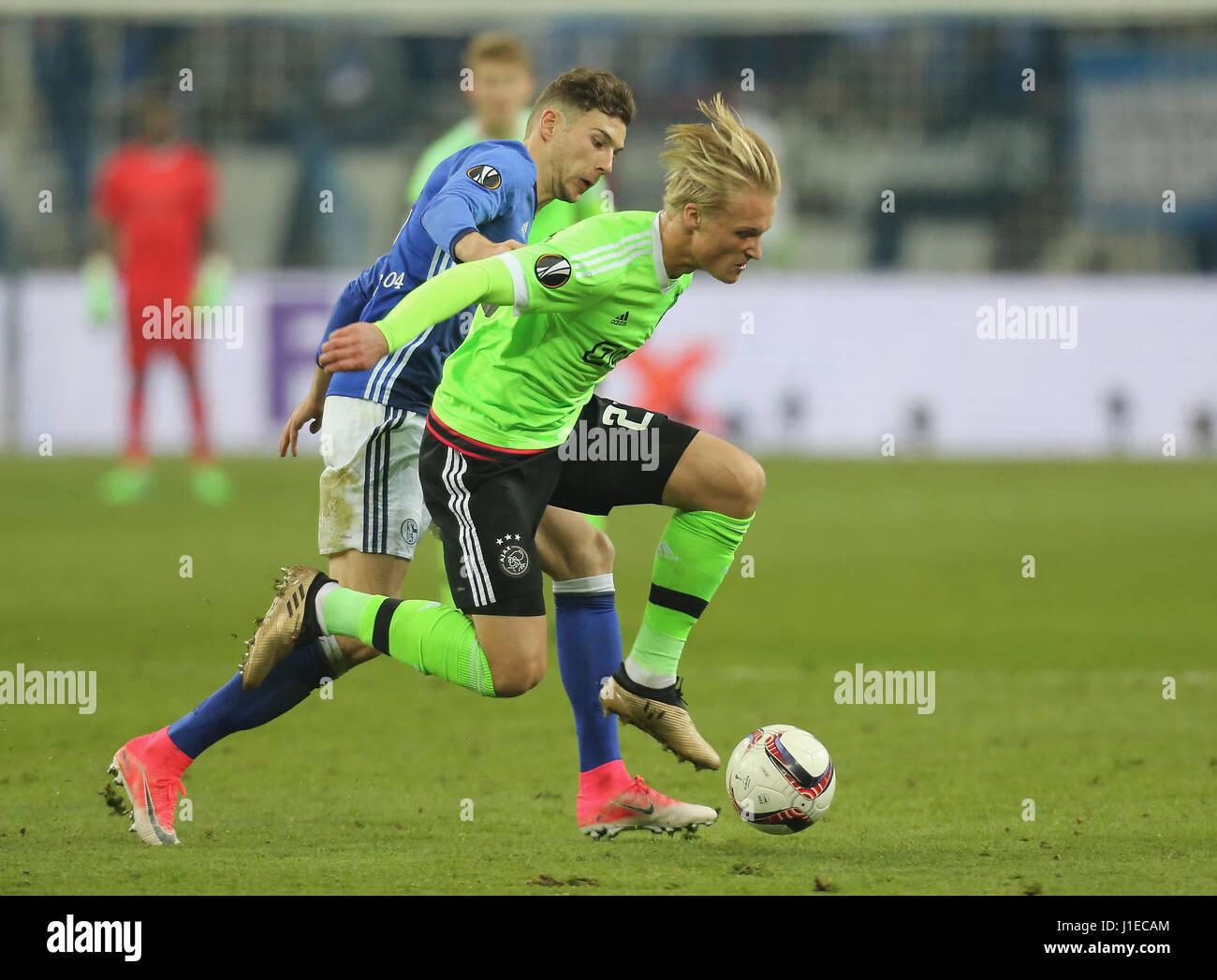 Gelsenkirchen, Germany. 20th Apr, 2017. UEFA Europa League, semifinals 2nd leg, FC Schalke 04 vs Ajax Amsterdam: - Stock Image