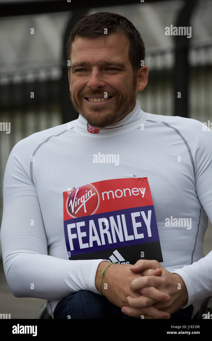 London,UK,21st April 2017,Elite wheelchair athlete Kurt Fearnley attends a photocall by Tower Bridge in London ahead Stock Photo