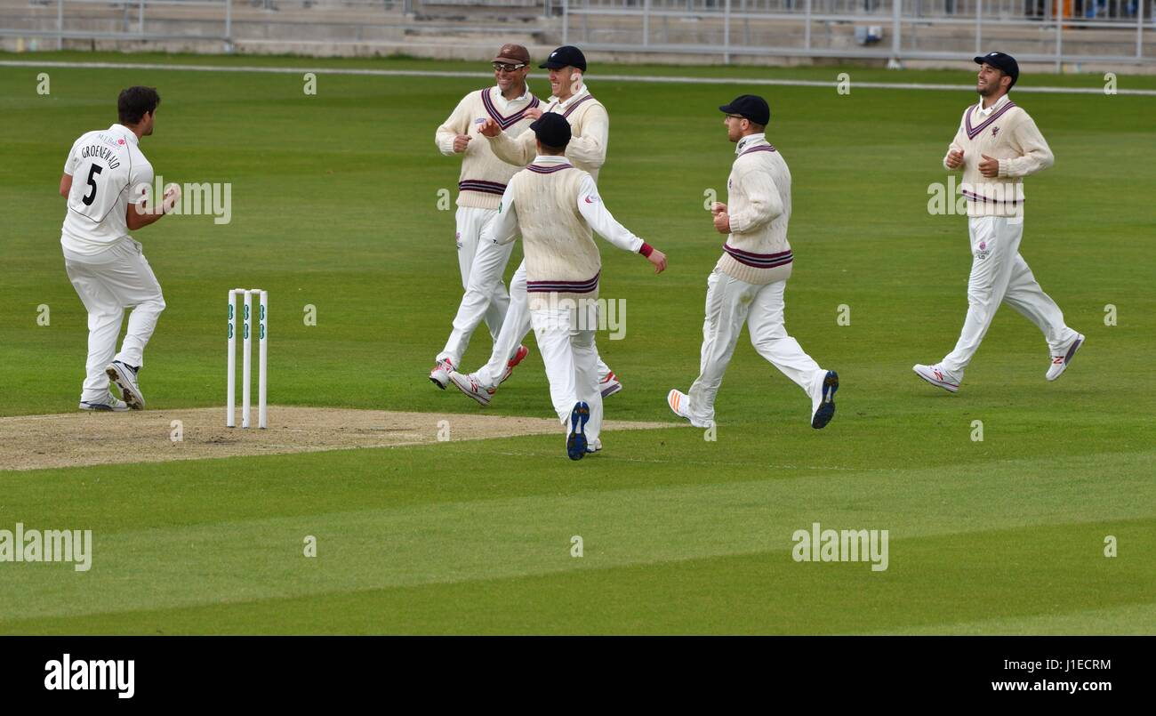 Manchester, UK. 21st Apr, 2017. Tim Groenewald (Somerset) celebrates taking the wicket of Ryan McLaren for two on - Stock Image
