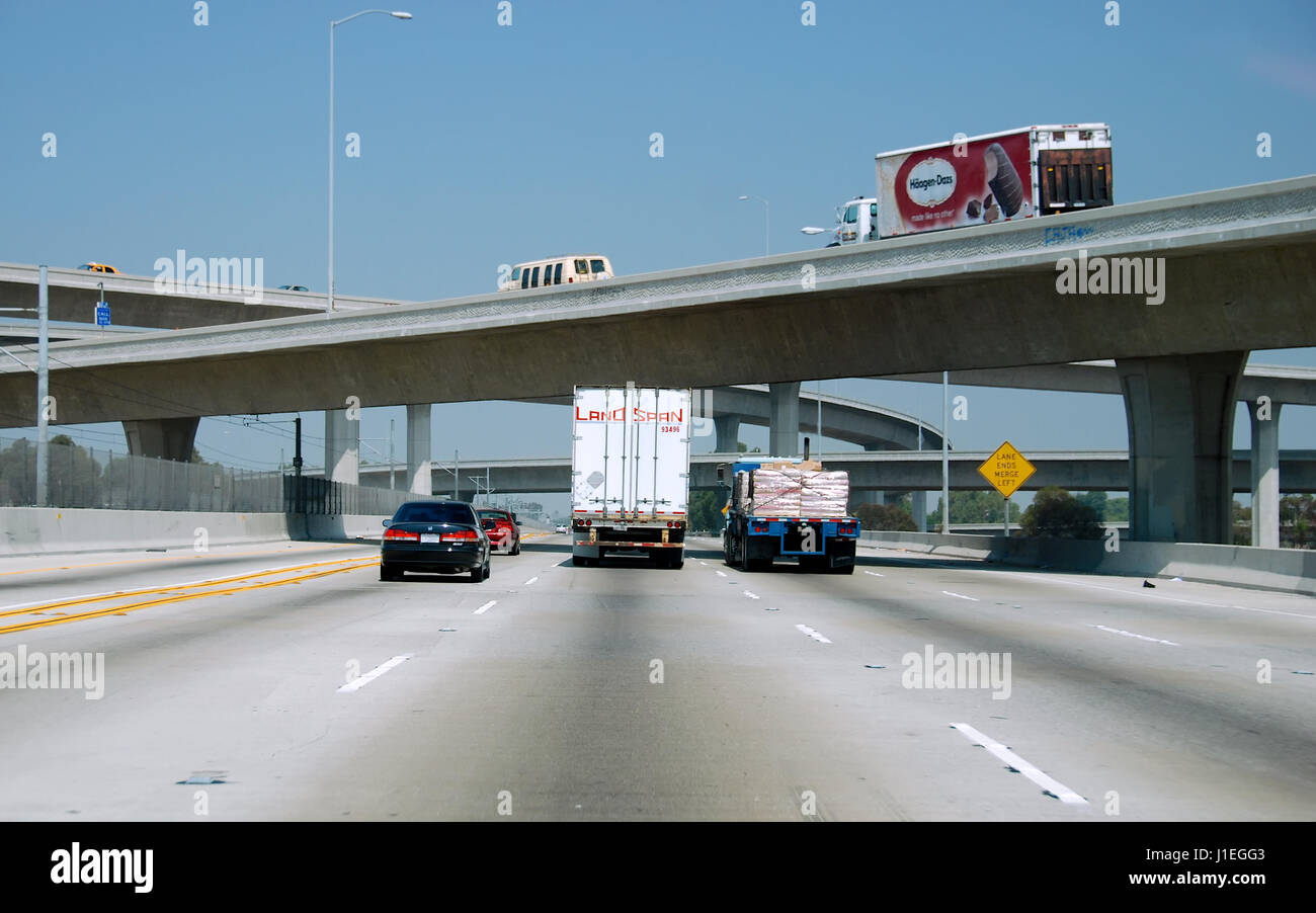 Traveling on Interstate 105 westbound in the South Los Angeles area, California, USA. - Stock Image