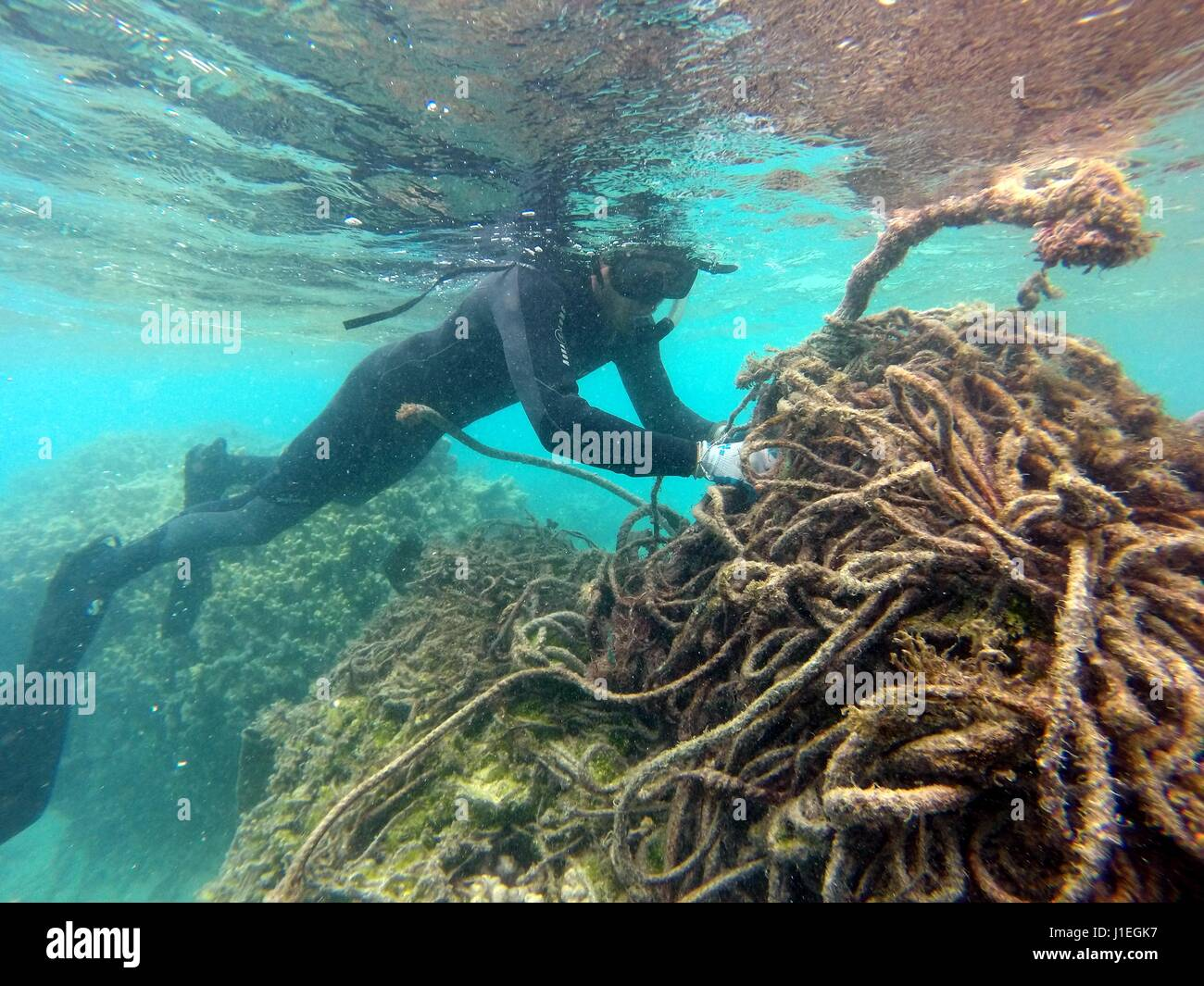 Hawaiian State employees collect discarded nets, plastic and marine debris from the lagoon on Kure Atoll June 16, - Stock Image